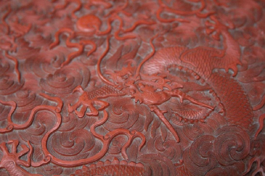 """EARLY CHINESE CINNABAR CARVED BOX, 10 1/2"""" D - 10"""