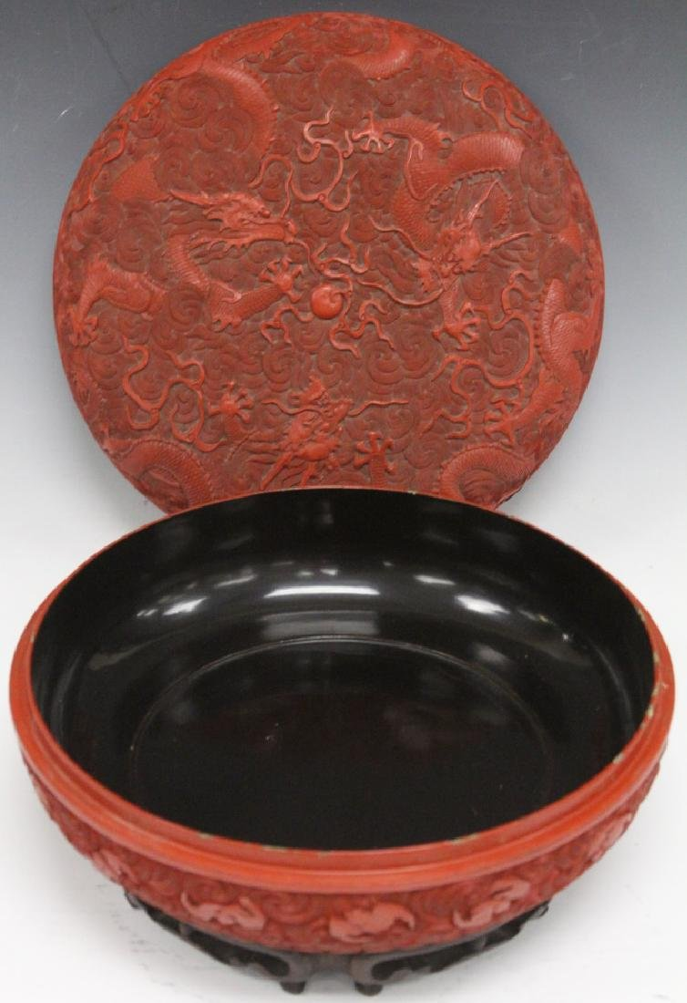 """EARLY CHINESE CINNABAR CARVED BOX, 10 1/2"""" D - 2"""