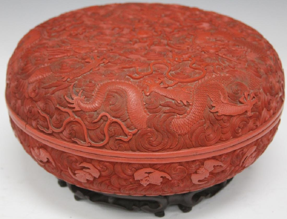 """EARLY CHINESE CINNABAR CARVED BOX, 10 1/2"""" D - 4"""