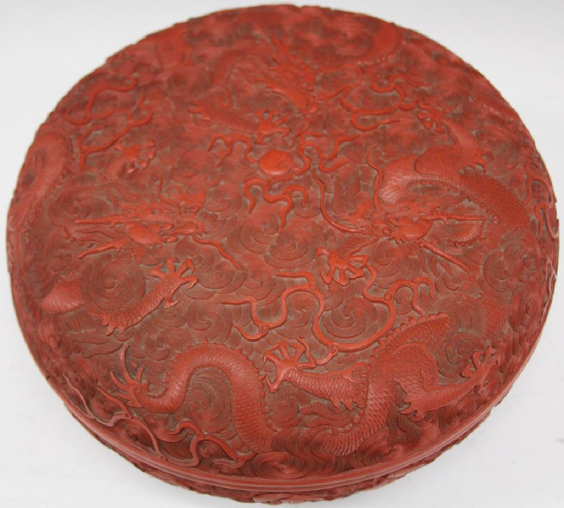 """EARLY CHINESE CINNABAR CARVED BOX, 10 1/2"""" D - 5"""