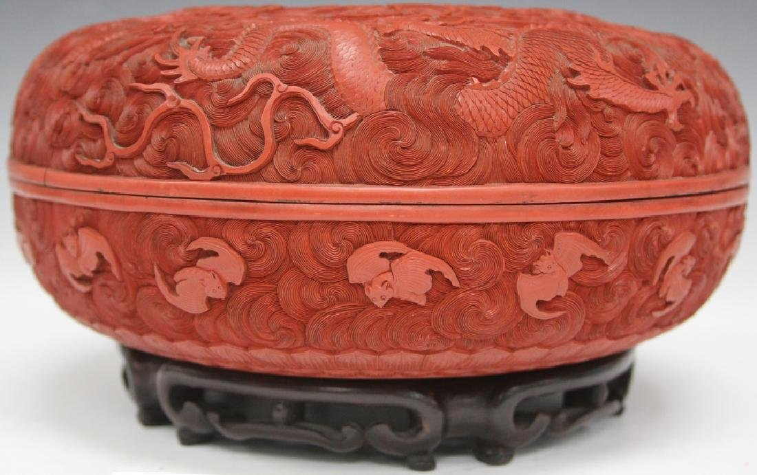 """EARLY CHINESE CINNABAR CARVED BOX, 10 1/2"""" D - 7"""