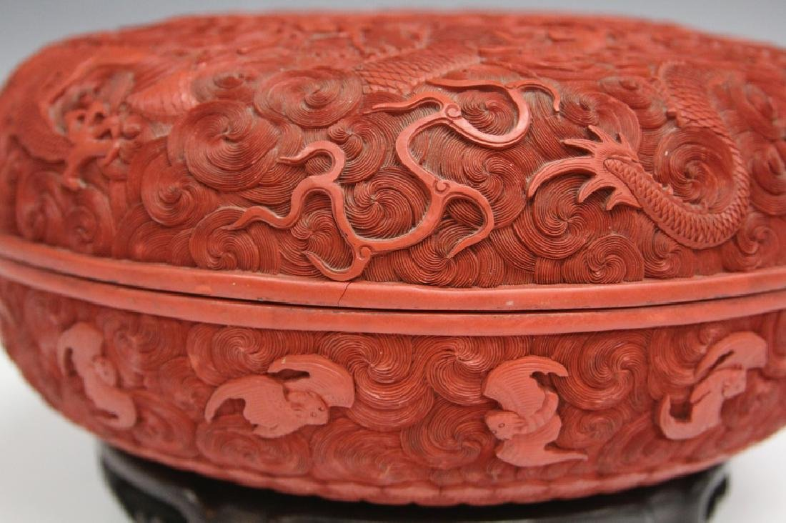 """EARLY CHINESE CINNABAR CARVED BOX, 10 1/2"""" D - 9"""