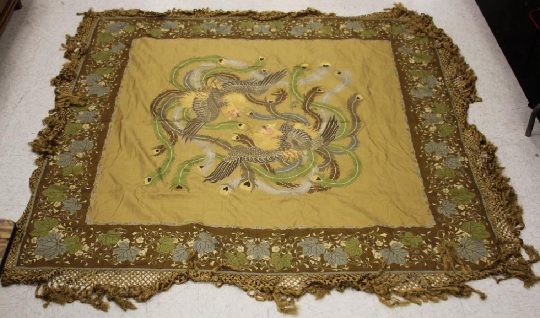 19TH C. JAPANESE SILK WOVEN TAPESTRY