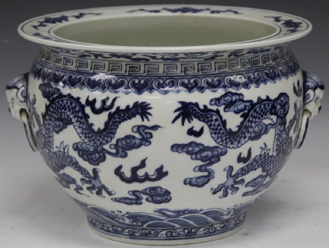 "CHINESE BLUE AND WHITE PORCELAIN JARDINIERE, 12"" H"