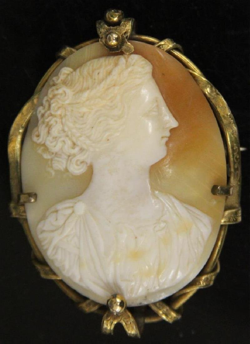 VINTAGE GOLD PLATED CAMEO PIN