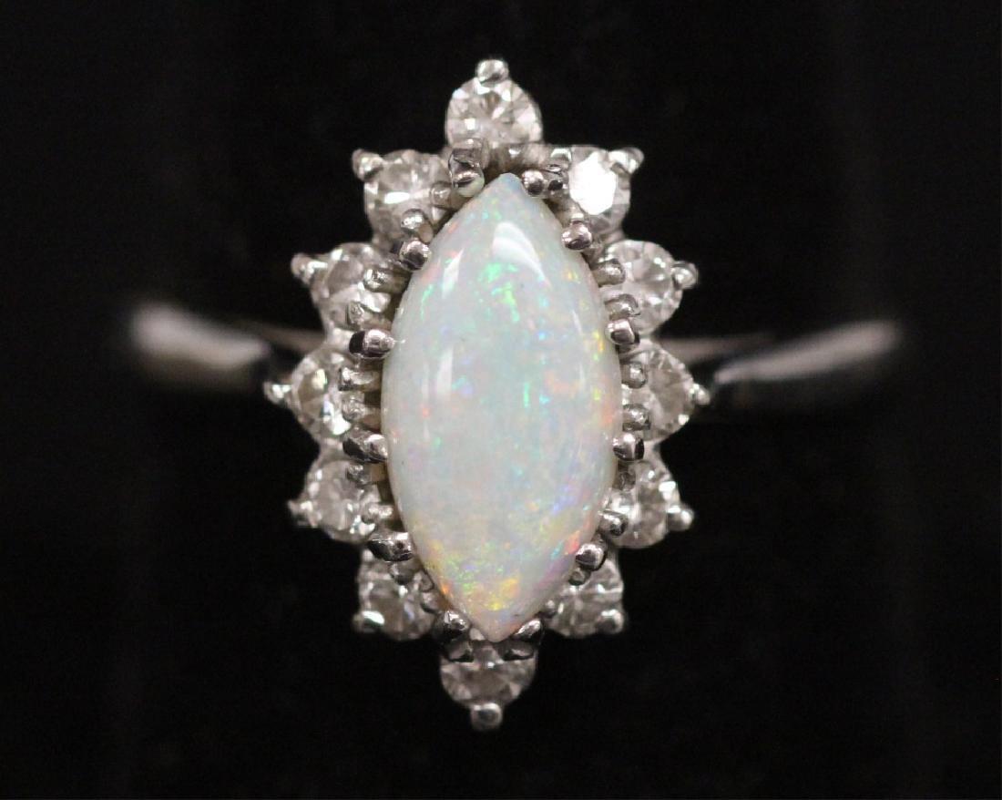 OPAL & DIAMOND 14KT WHITE GOLD RING