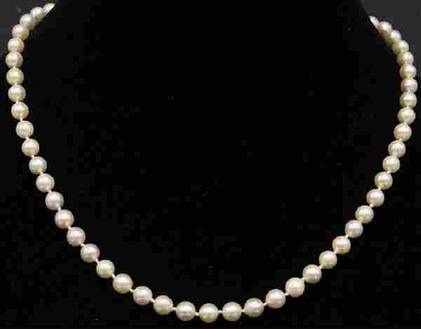 LADY'S PEARL NECKLACE W/ 14KT YELLOW GOLD CLASP
