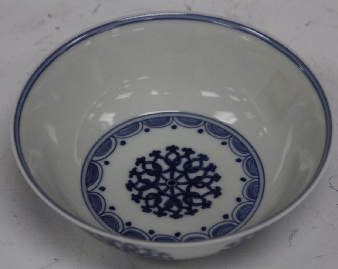 """CHINESE BLUE AND WHITE PORCELAIN BOWL, 5 1/2"""" D"""