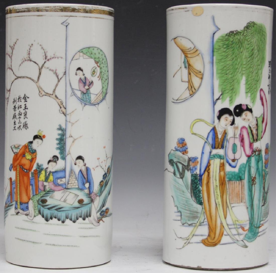 LOT OF (2) CHINESE PAINTED PORCELAIN BRUSH POTS