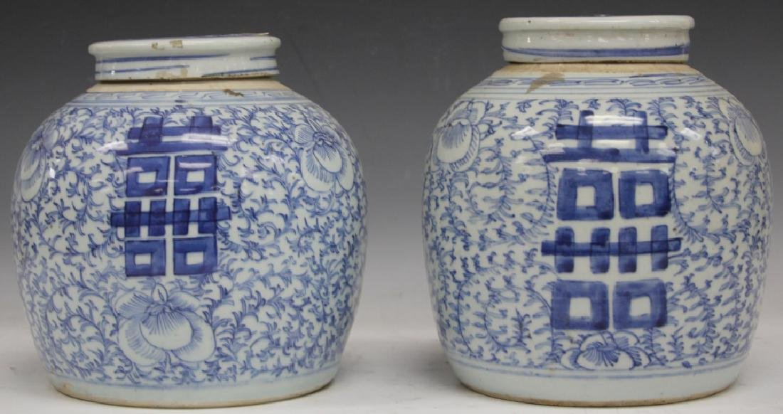 LOT OF (2) CHINESE BLUE & WHITE PORCELAIN JARS