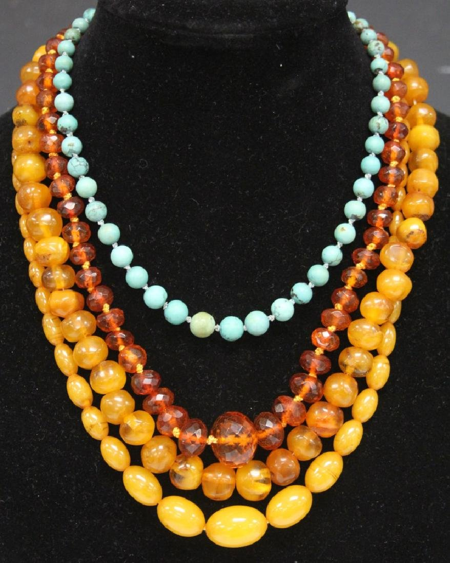 LOT OF (4) CHINESE NECKLACES: AMBER, TURQUOISE