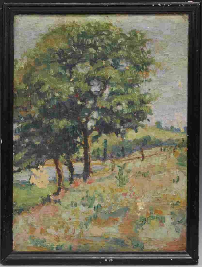 EARLY 20TH C. AMERICAN IMPRESSIONIST OIL ON BOARD