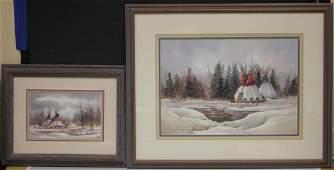 DEANNE HALLY (1944-2002), (2) WATERCOLOR PAINTINGS