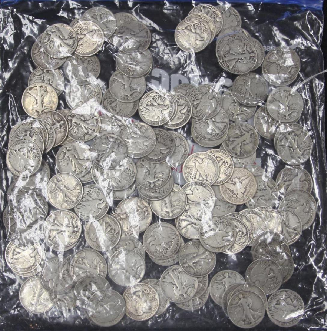 LOT OF (125) STANDING LIBERTY HALF DOLLARS