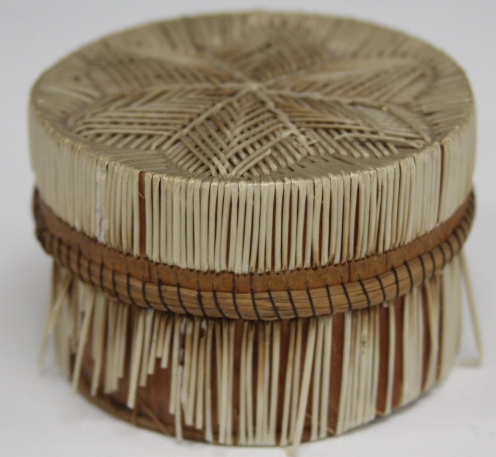 NATIVE AMERICAN QUILL WOVEN BASKET