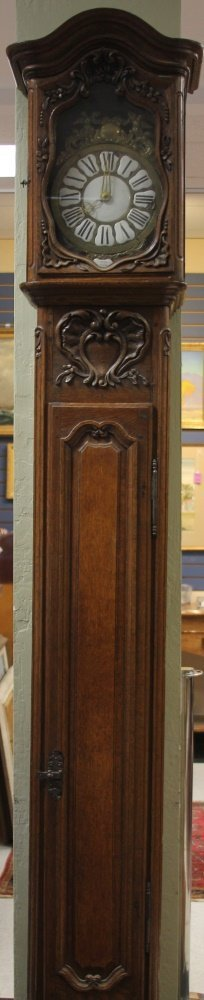 FRENCH 18TH C. CARVED OAK TALL CASE CLOCK