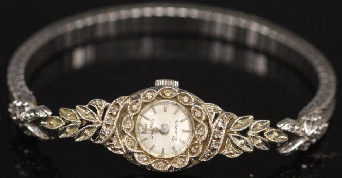 LADY'S BENRUS DIAMOND & 14KT WHITE GOLD WATCH