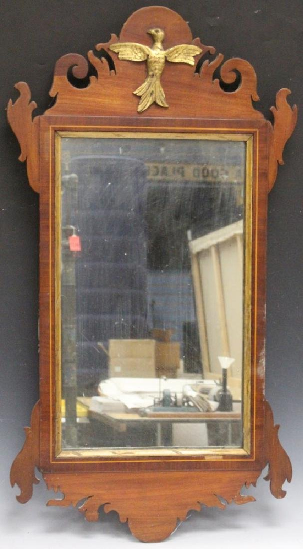 "EARLY 19TH C. INLAID MAHOGANY WALL MIRROR, 34"" L"