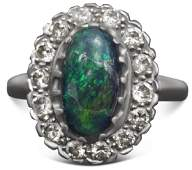 LADYS OPAL  DIAMOND PLATINUM RING