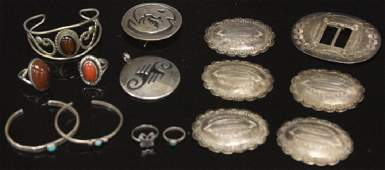 LOT OF 15 NATIVE AMERICAN SILVER JEWELRYBUCKLES