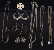 LOT OF 11 MISC GOLD JEWELRY