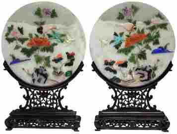 "PAIR OF CHINESE JADE TABLE SCREENS, 19"" H"