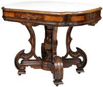 AMERICAN ROSEWOOD MARBLE TOP CENTER TABLE