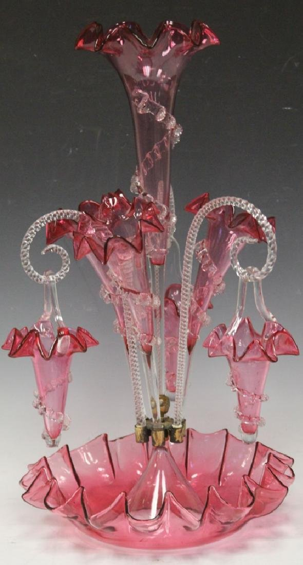 """VICTORIAN CRANBERRY EPERGNE, 20"""" H"""
