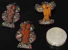 LOT OF 4 CHINESE PINS  CARVED STONE PENDANT