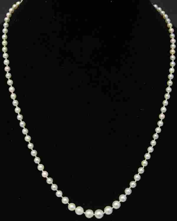 LADY'S GRADUATED PEARL NECKLACE W/ 14KT CLASP