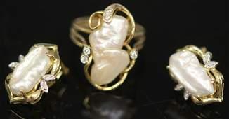 SET OF 2 DIAMOND  PEARL RING  EARRINGS