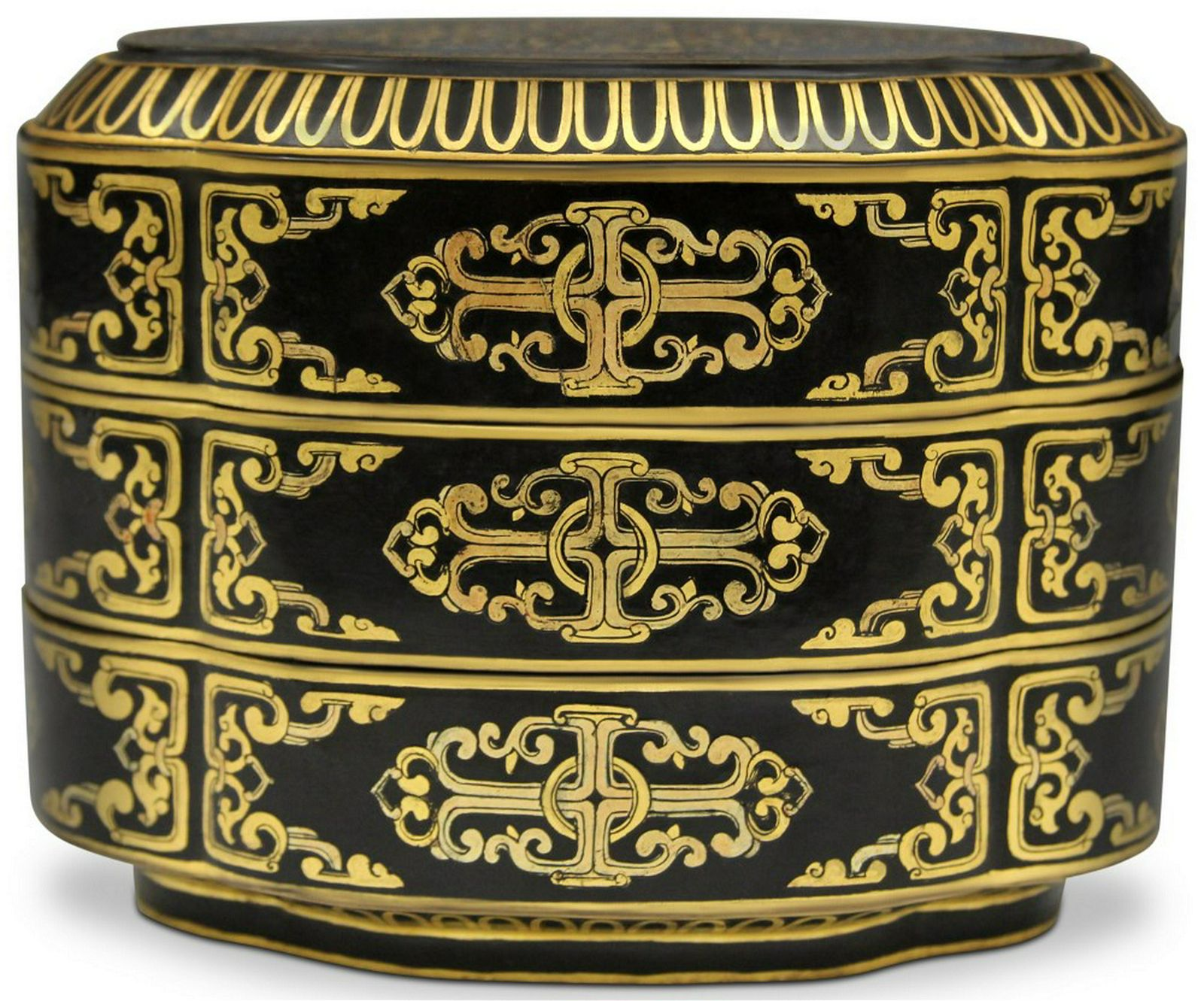 """CHINESE BLACK LACQUERED BOX, 6 1/4"""" L"""