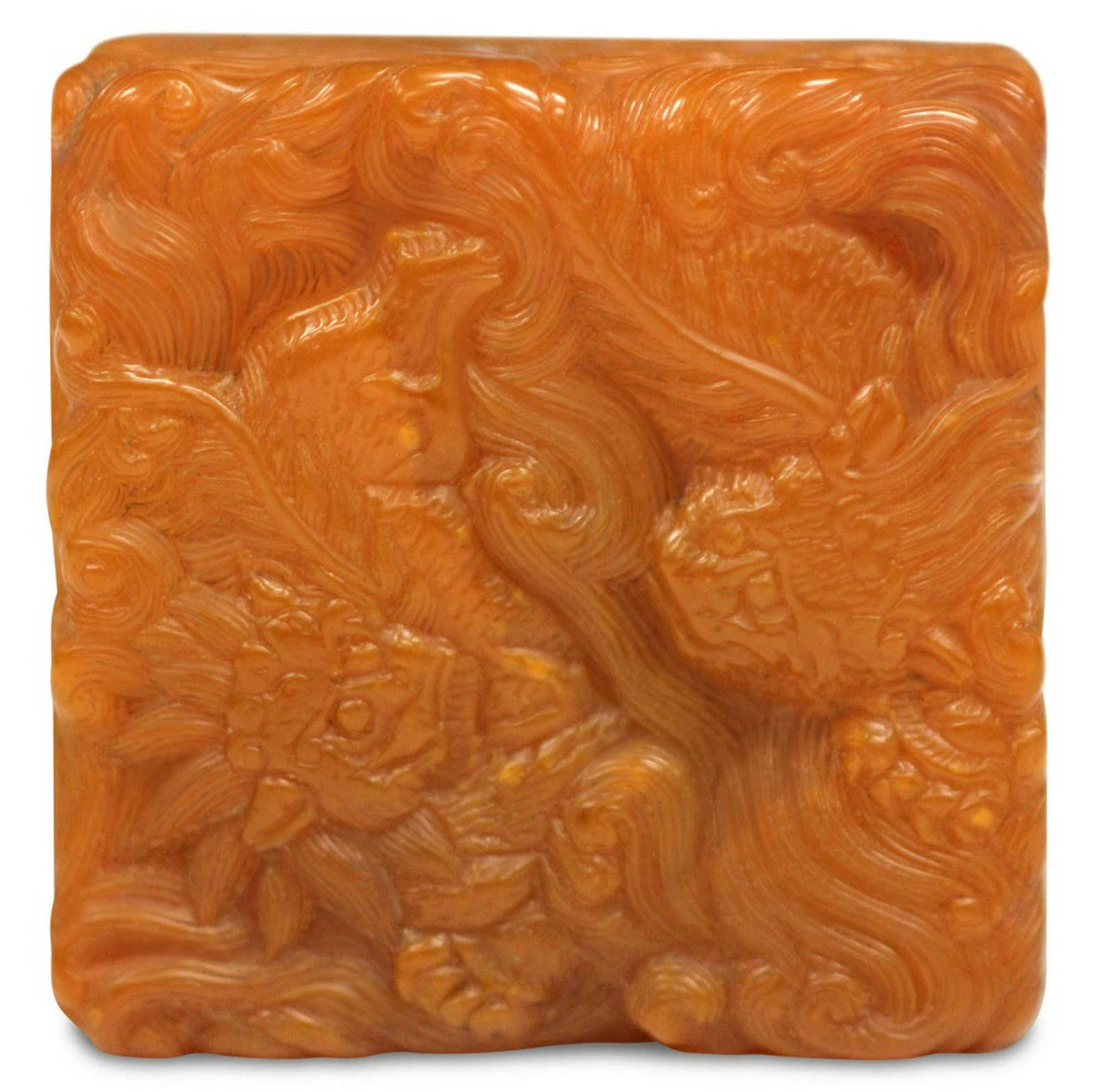 CHINESE CARVED SOAPSTONE SEAL STAMP, AMBER COLOR