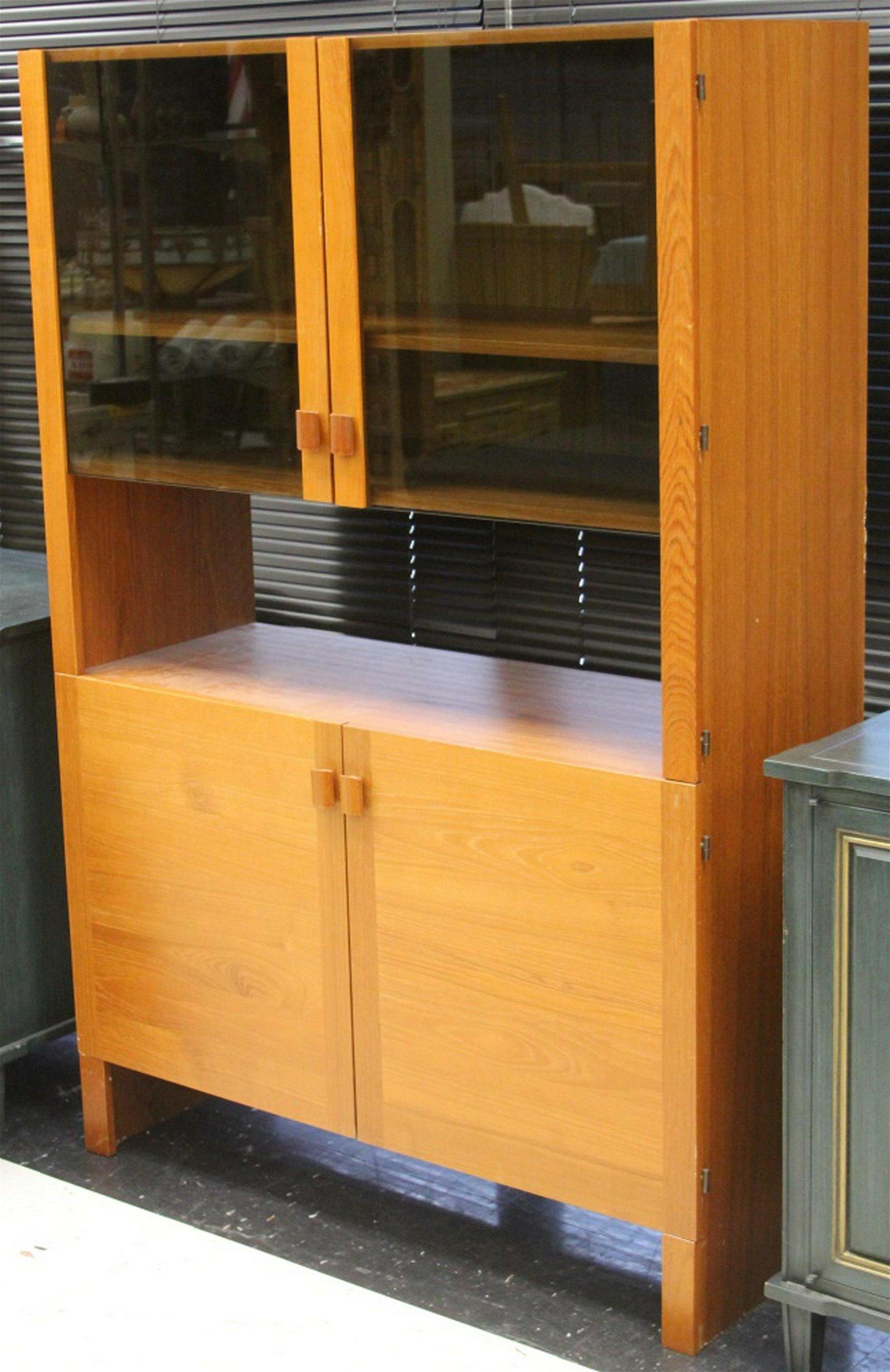 MID-CENTURY DANISH TEAK GLASS DOOR CABINET