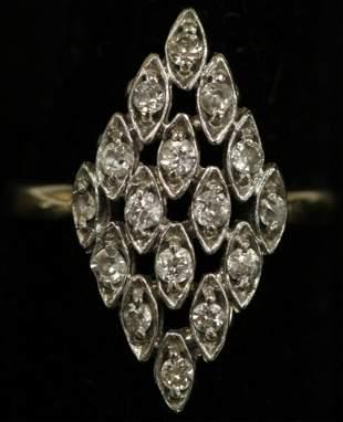 LADYS DIAMOND 14KT YELLOW GOLD RING 52 GRAMS
