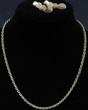 LOT OF 2 14KT GOLD CHAIN NECKLACE EARRINGS