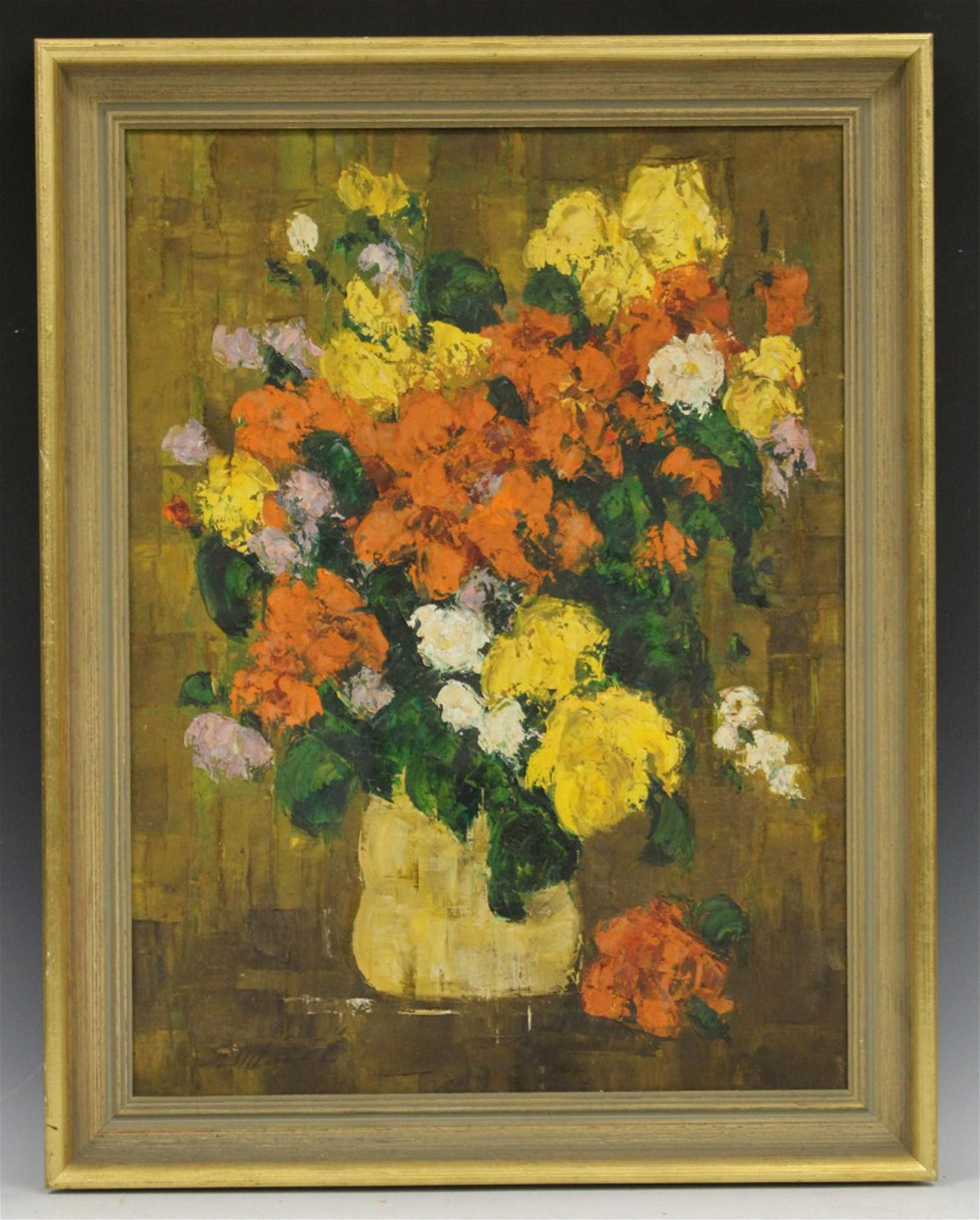 20TH C. OIL ON CANVAS OF FLORAL STILL LIFE