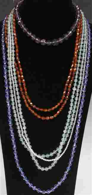 LOT OF 5 VINTAGE GLASS BEADED NECKLACES