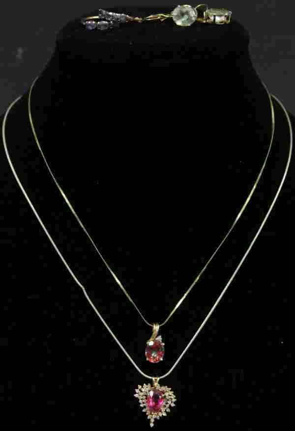 LOT OF (4) 10KT+ GOLD EARRINGS & NECKLACES