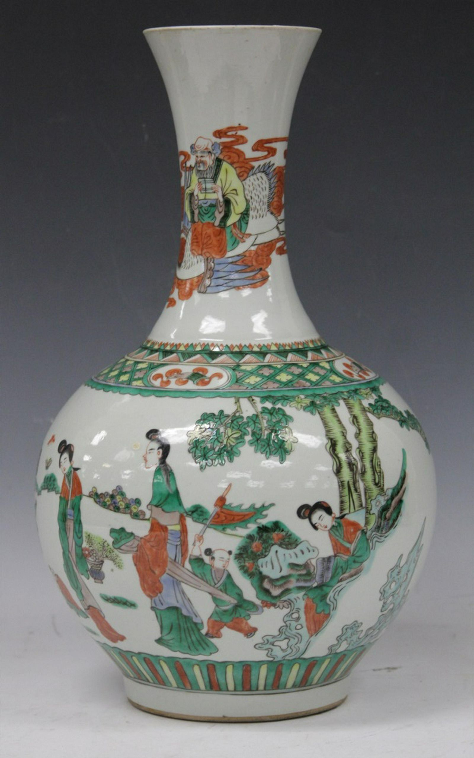 """CHINESE QING DYNASTY PAINTED VASE, 15"""" H"""