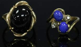 LOT OF 2 VINTAGE 14KT GOLD RINGS LAPIS ONYX