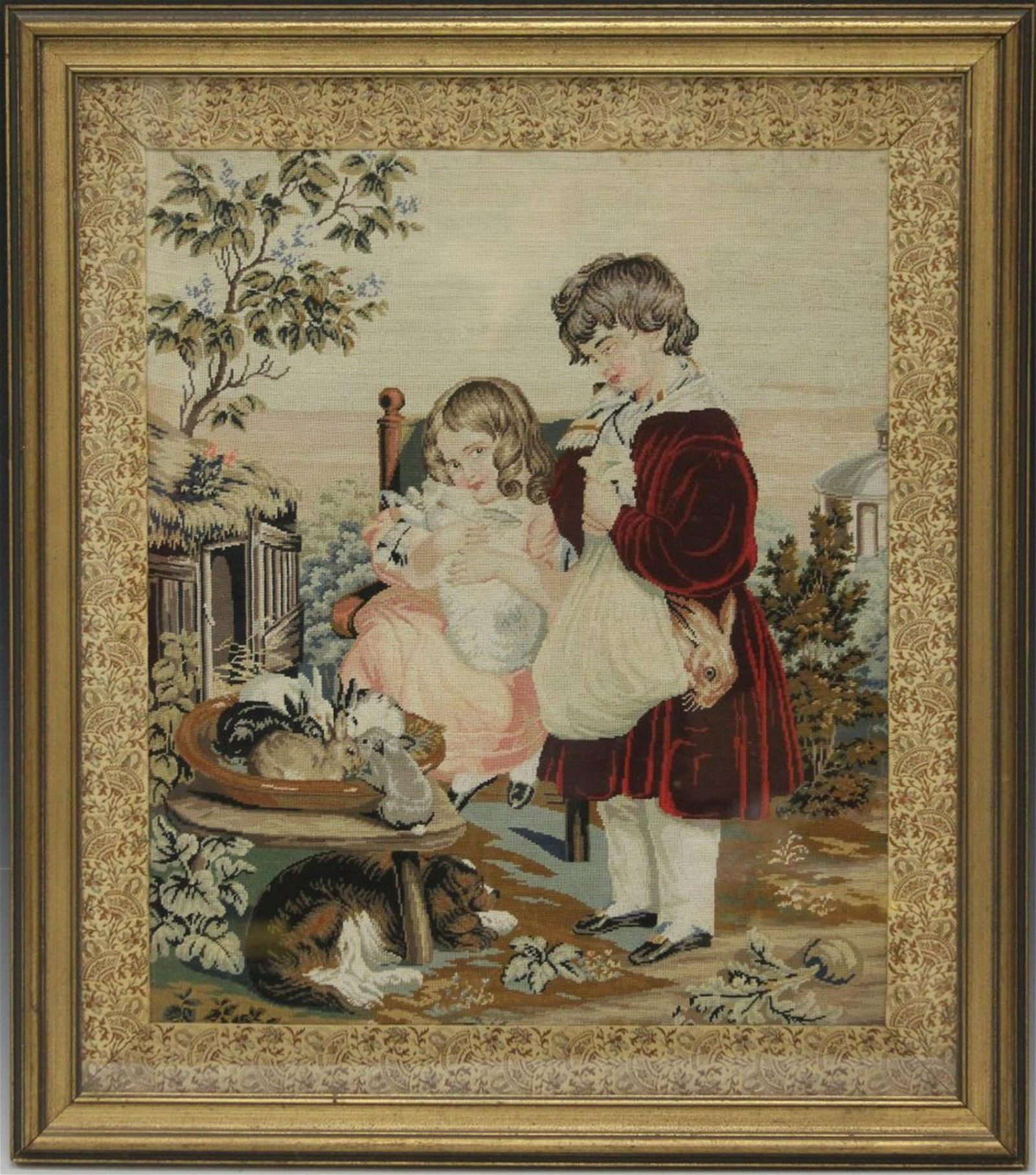 19TH C. PETITE POINT TAPESTRY, FRAMED