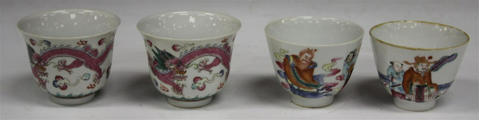 (2) PAIRS OF CHINESE PORCELAIN ENAMELED TEA CUPS