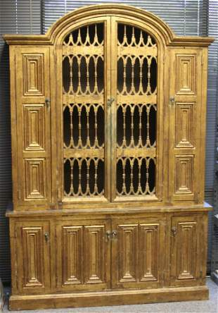 CONTINENTAL PAINTED CARVED WOOD CABINET