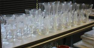 SHELF LOT OF GLASS WARE INCL 40 PIECES