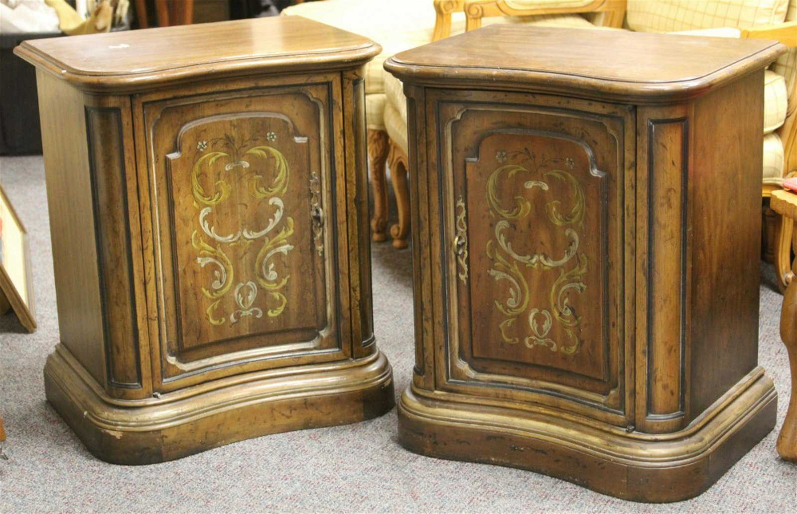 PAIR OF ITALIAN STYLE PAINTED COMMODES