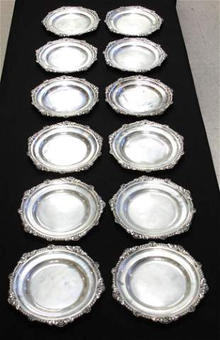 SET OF (12) STERLING SILVER PLATES, 288 OZT