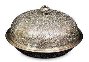 SILVER INDIAN MOSAIC SERVING COVERED DISH, 40 OZT