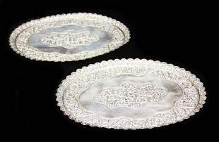 PAIR OF SILVER PLATED SERVING TRAYS 19TH C