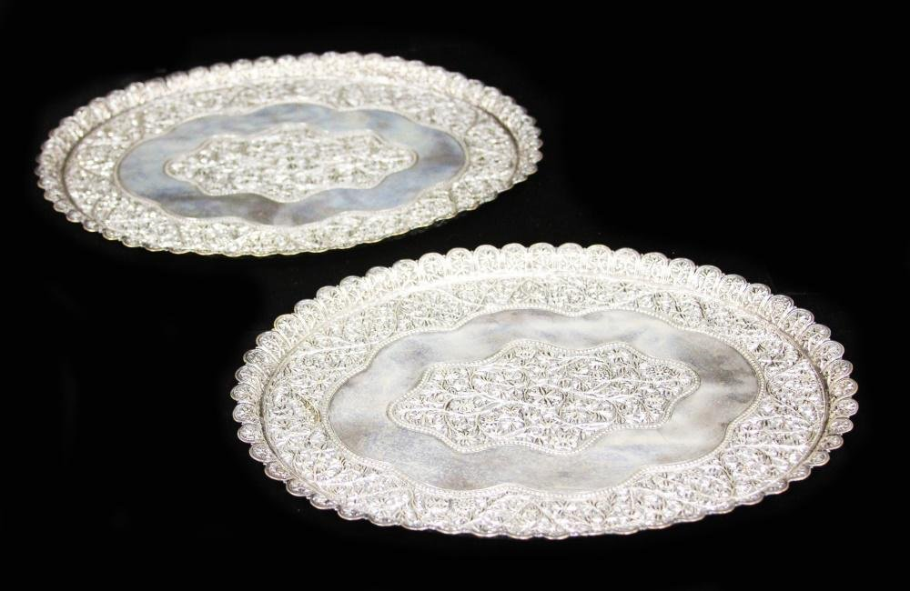 PAIR OF SILVER PLATED SERVING TRAYS, 19TH C.